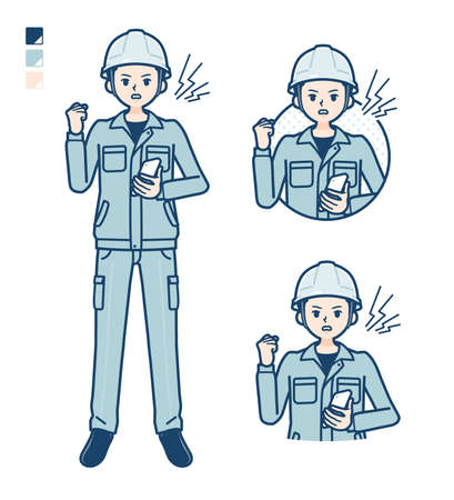 A Man wearing workwear with Looking sideways images.