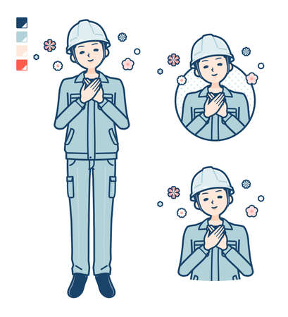 A Man wearing workwear with Sighing images.