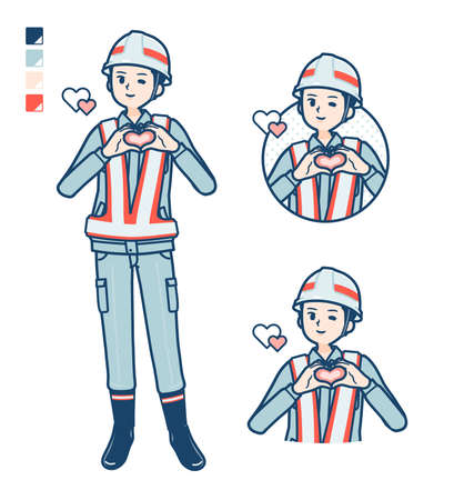 A Man wearing workwear with Sighing images.It's vector art so it's easy to edit.
