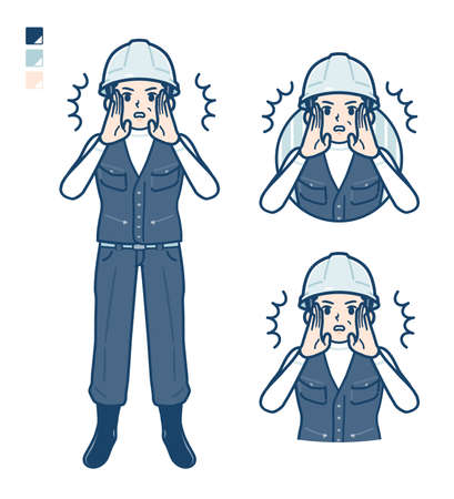 A Man wearing workwear with panic images.It's vector art so it's easy to edit. Ilustración de vector