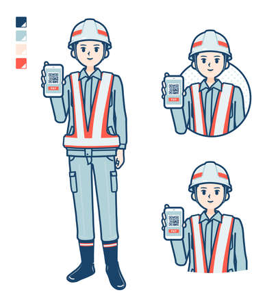 A Man wearing workwear with panic images.It's vector art so it's easy to edit. Vettoriali