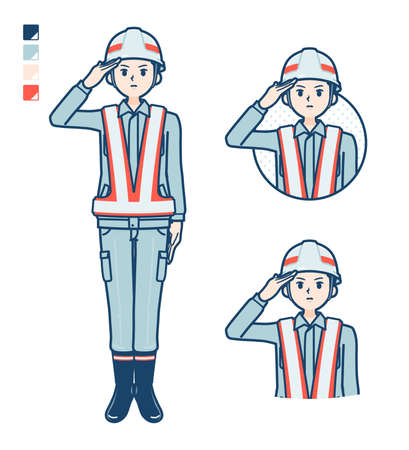 A Man wearing workwear with came up with images.It's vector art so it's easy to edit.