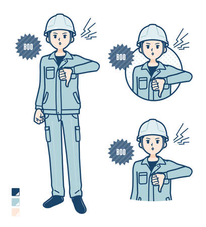 A Man wearing workwear with came up with images.