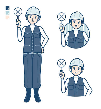 A Man wearing workwear with Explanation with a pointing stick image.It's vector art so it's easy to edit.