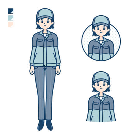 A woman wearing workwear with Manipulating light images.It's vector art so it's easy to edit. Illustration