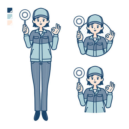 A woman wearing workwear with Discouraged head images.