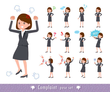 A set of women in a cheerful pose. A collection of positive gestures.It's vector art so it's easy to edit.