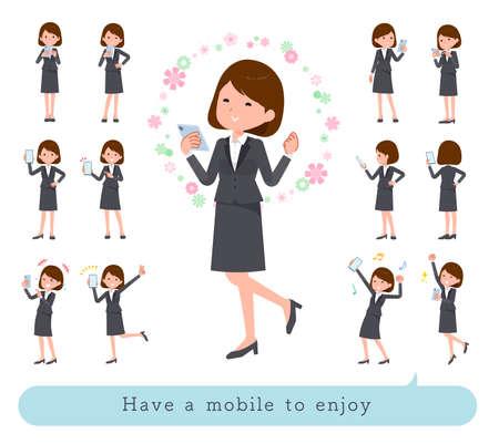 A set of women who use smartphones in the dark.It's vector art so it's easy to edit. 版權商用圖片 - 155791923