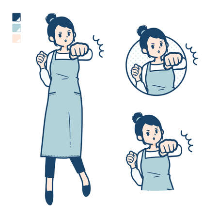 A woman in a apron with Punch in front images.It's vector art so it's easy to edit.