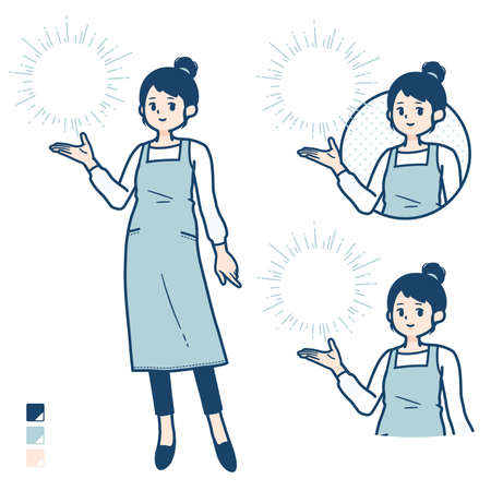 A woman in a apron with Manipulating light images.It's vector art so it's easy to edit.