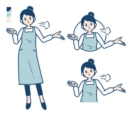 A woman in a apron with Discouraged images.It's vector art so it's easy to edit.