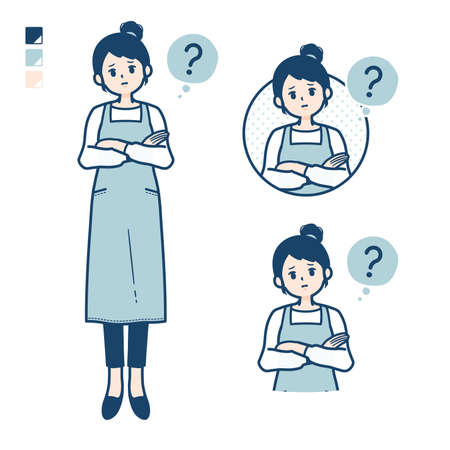 A woman in a apron with be quiet hand sign images.