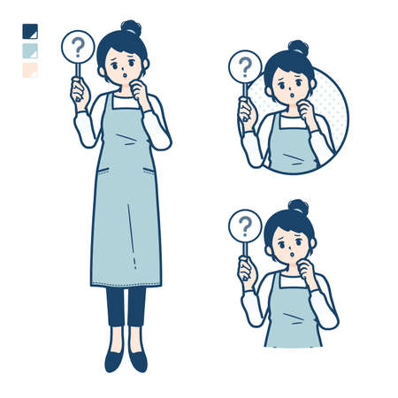 A woman in a apron with Put out a question panel image.It's vector art so it's easy to edit.
