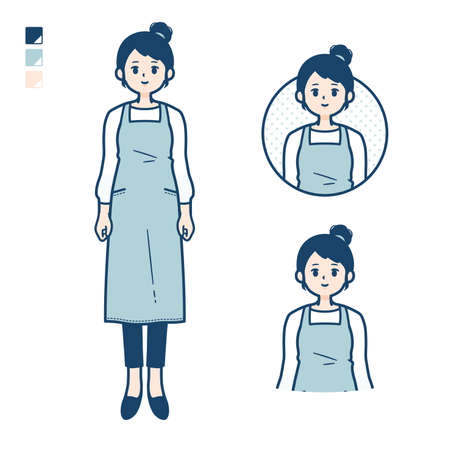 A woman in a apron with be quiet hand sign images.It's vector art so it's easy to edit.