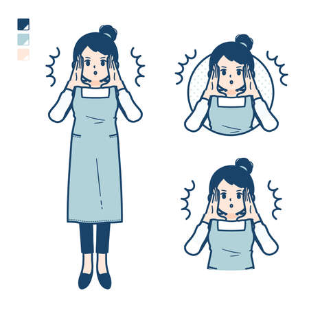 A woman in a apron with greeting images.