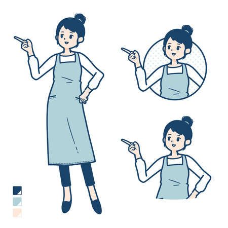 A woman in a apron with be quiet hand sign images.It's vector art so it's easy to edit. Vektorgrafik