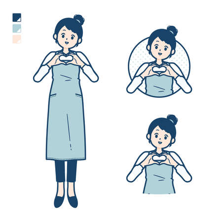 A woman in a apron with greeting images.It's vector art so it's easy to edit.  イラスト・ベクター素材