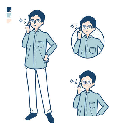 Man in a shirtwith Pointing to the front images.It's vector art so it's easy to edit.