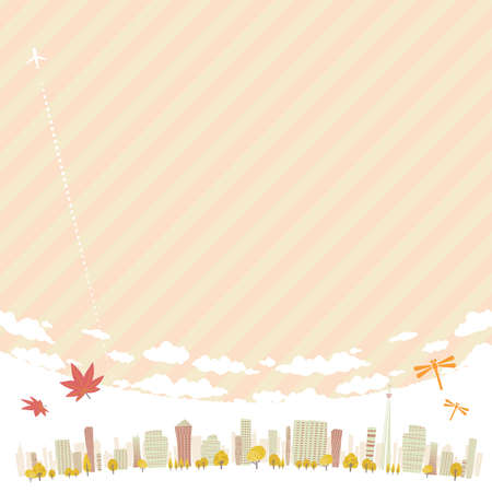 Cityscape of the city in Autumn.16:9 portrait size.Vector art that is easy to edit.