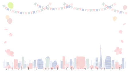 Cityscape of the city in Spring.16:9 portrait size.Vector art that is easy to edit. Ilustracja