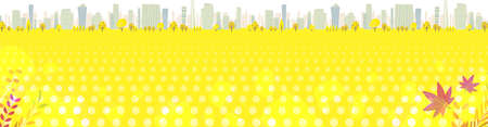 A shining Autumn city. Square size.Vector art that is easy to edit.  イラスト・ベクター素材