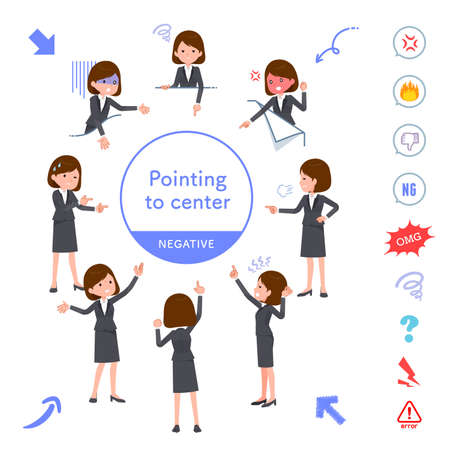 A set of women pointing in different directions(Positive expression).It's vector art so it's easy to edit.