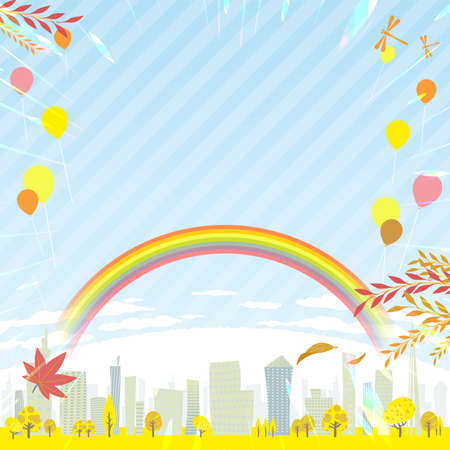 A shining Spring city.16:9 portrait size.Vector art that is easy to edit.