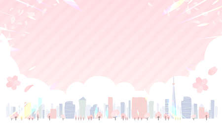 A shining summer city. Horizontal size.Vector art that is easy to edit.