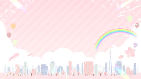 A shining Spring city.16:9 wide size.Vector art that is easy to edit.