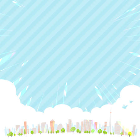 A shining Spring city. Horizontal size.Vector art that is easy to edit.