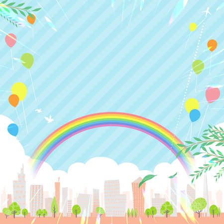 A shining summer city. Vector art that is easy to edit.  イラスト・ベクター素材