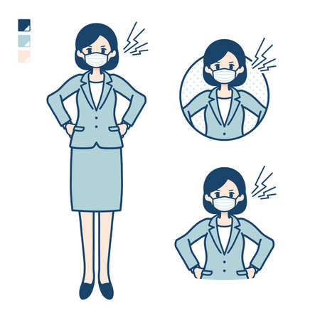 Business woman Wearing a mask with Booing images.