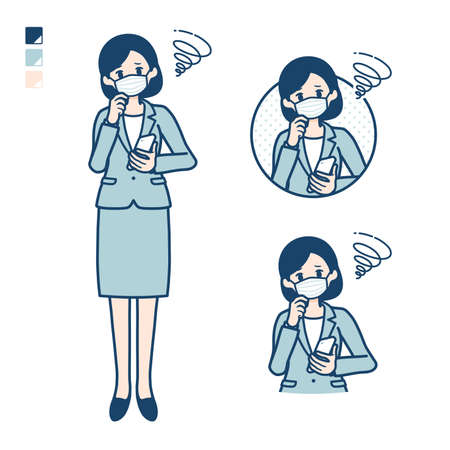 Business woman Wearing a mask with Holding a smartphone and troubled images.