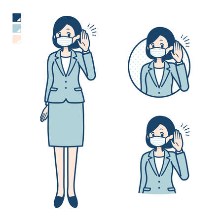 Business woman Wearing a mask with Listening images.It's vector art so it's easy to edit. 일러스트