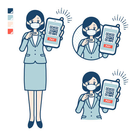 Business woman Wearing a mask with Booing images.It's vector art so it's easy to edit.
