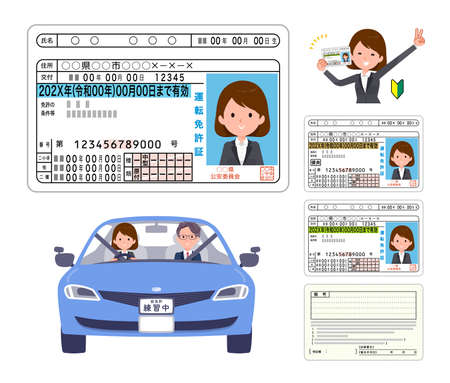 A set of women who get a driver's license.It's vector art so it's easy to edit. 일러스트