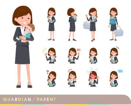 A set of women who take care of their baby.It's vector art so it's easy to edit.