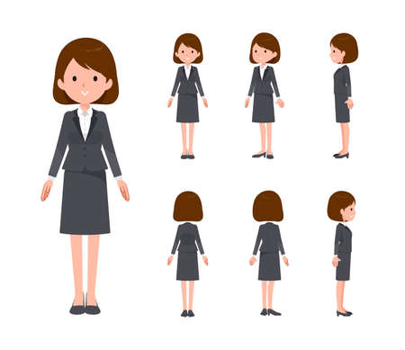 Set of standing women. Front, landscape, and back angles. Vector art that is easy to edit.