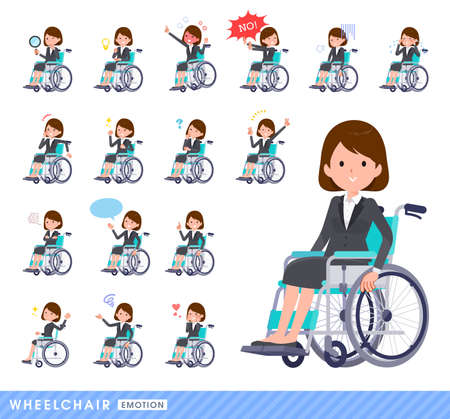 Set of women in wheelchairs. It depicts various scenes of wheelchair users. Vector art that is easy to edit.