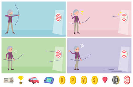 Set of senior women aiming at the target with bows and arrows. Vector art that is easy to edit.