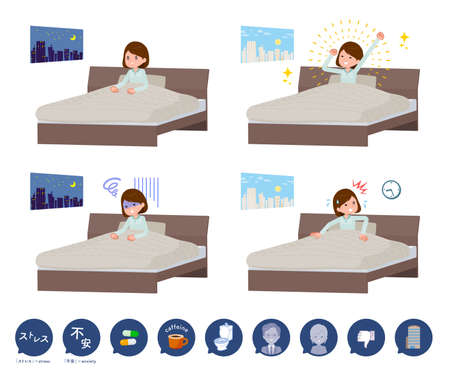 A set of women and causes of sleeplessness.It's vector art so it's easy to edit.
