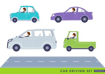 A set of women driving a car(sideways).It's vector art so it's easy to edit.