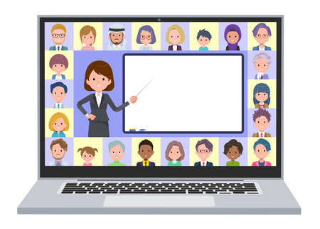 A set of women teaching lessons online.It's vector art so easy to edit.