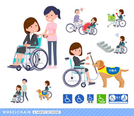 A set of women in a wheelchair.It depicts various situations of wheelchair users.It's vector art so easy to edit.