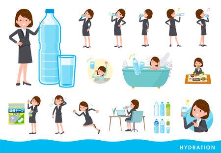 A set of women drinking water.It's vector art so easy to edit. Vektoros illusztráció