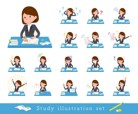 A set of women on study.There are various emotions and actions.It's vector art so it's easy to edit.