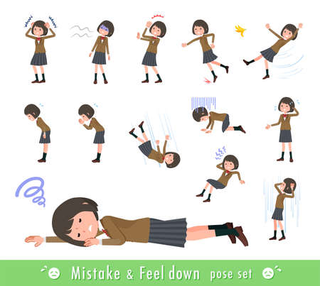 A set of schoolgirl expressing failure and depression.It's vector art so easy to edit.