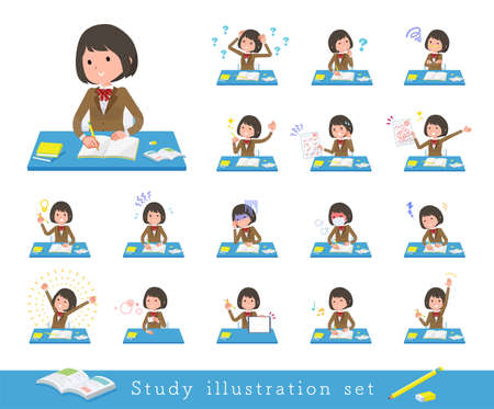 A set of schoolgirl on study.It's vector art so easy to edit.