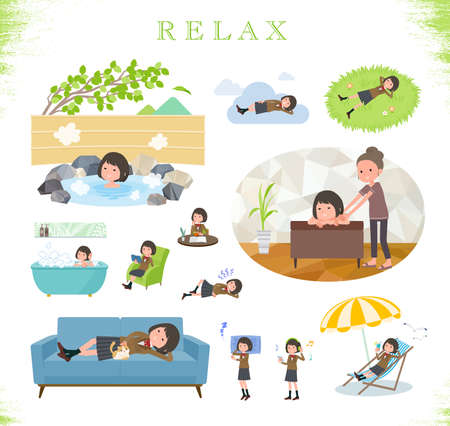 A set of schoolgirl about relaxing.It's vector art so easy to edit.
