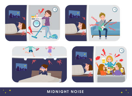 A set of women suffering from the noise of their neighbors.It's vector art so it's easy to edit.